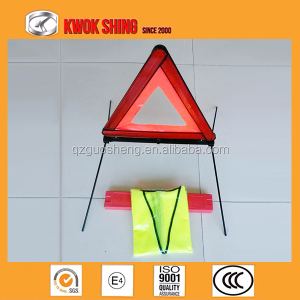 auto emergency kit, triangle warning sign, with reflective vest