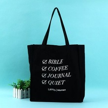 black cotton shopping bag reusable canvas tote bag with printing