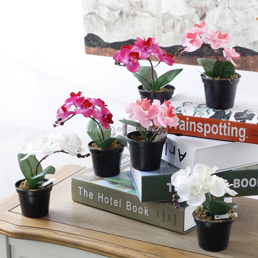 Factory Wholesale Mini Silk Artificial Orchid Plant with Black Pots