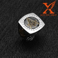 In Stock Wholesale Stainless Steel Two Tone Gold Freemason Masonic Rings for Men