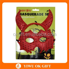 Wholesale Halloween Party Masquerade Adult Red OX Horn Mask And Headband Two PCS Set