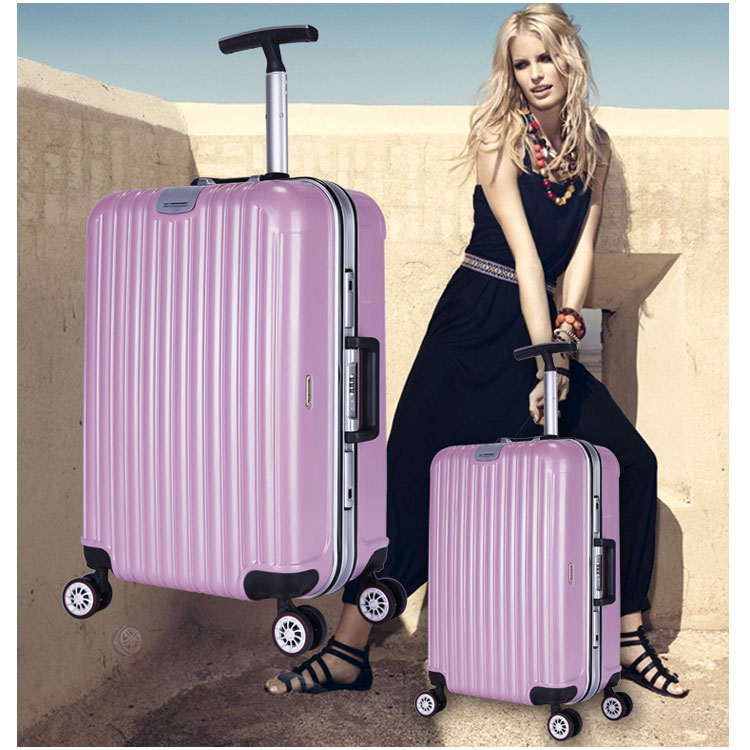 ABS Travel Luggage Sets Aluminum Frame Single Hand Trolley Luggage with Four 360 Double Airplane Wheel