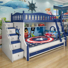 MDF wooden kids bunk bed with stairs and drawers cartoon bed