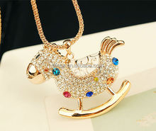 Fashion Wooden horse Necklaces Alloy Rhinestones necklaces gold Long chain Necklaces small order CL117