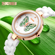 Beautiful ceramic band ladies wrist watches unique butterfly designed big hands quarzt watch