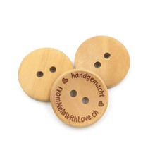 Customized engraved logo wood buttons for garments