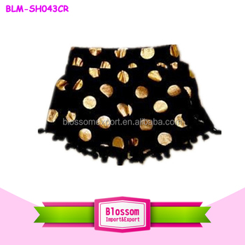 Black shorts new design baby pom pom underwear infant ruffle shorts kids with golden dots