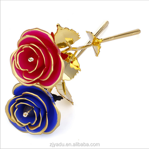 Gold Foil Plated Rose 24k Gold Dipped Natural Rose For Valentines Day