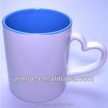 11oz heart handle inside color mug sublimation blanks