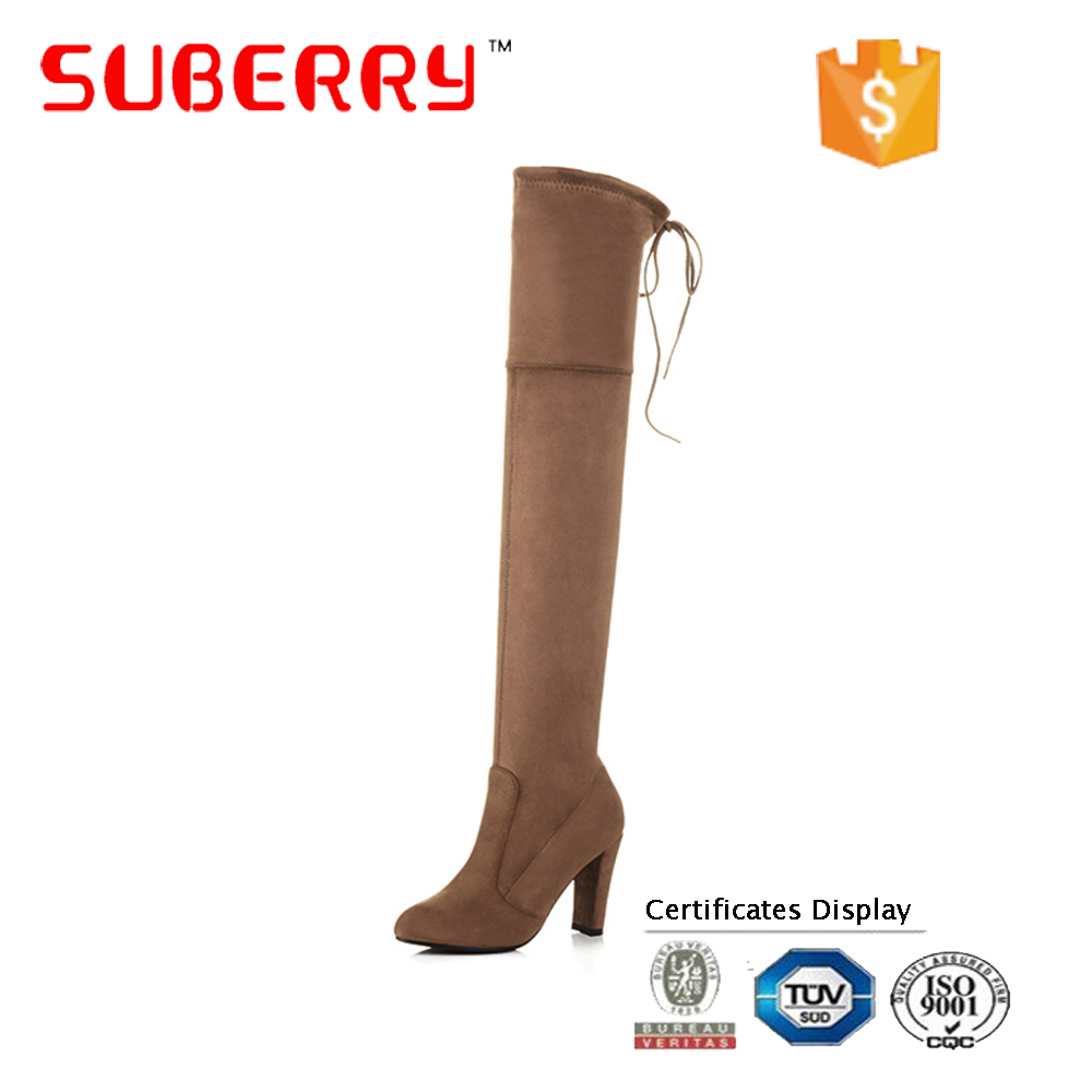 SUBERRY 2017 winter designer chunky heel lady boot, fashion over the knee women thigh high boots
