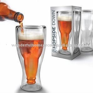 hopside down glass beer stein