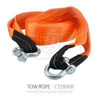10M 20T Heavy Duty Metal Hook Off Road Rope Towing Recovery with Reinforced Loops Tow Strap Emergency Tool Towing Rope