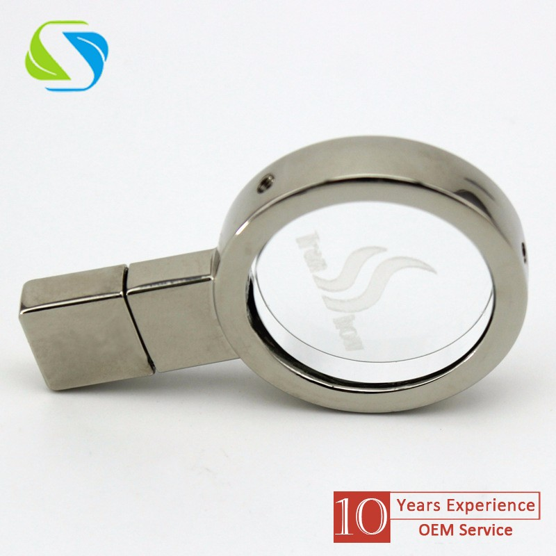 2016 brand promotional custom logo full printed metal magnifying glass promotion usb flash