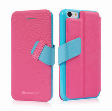 Girlish leather flip case for iphone5c mobile phone stand holder