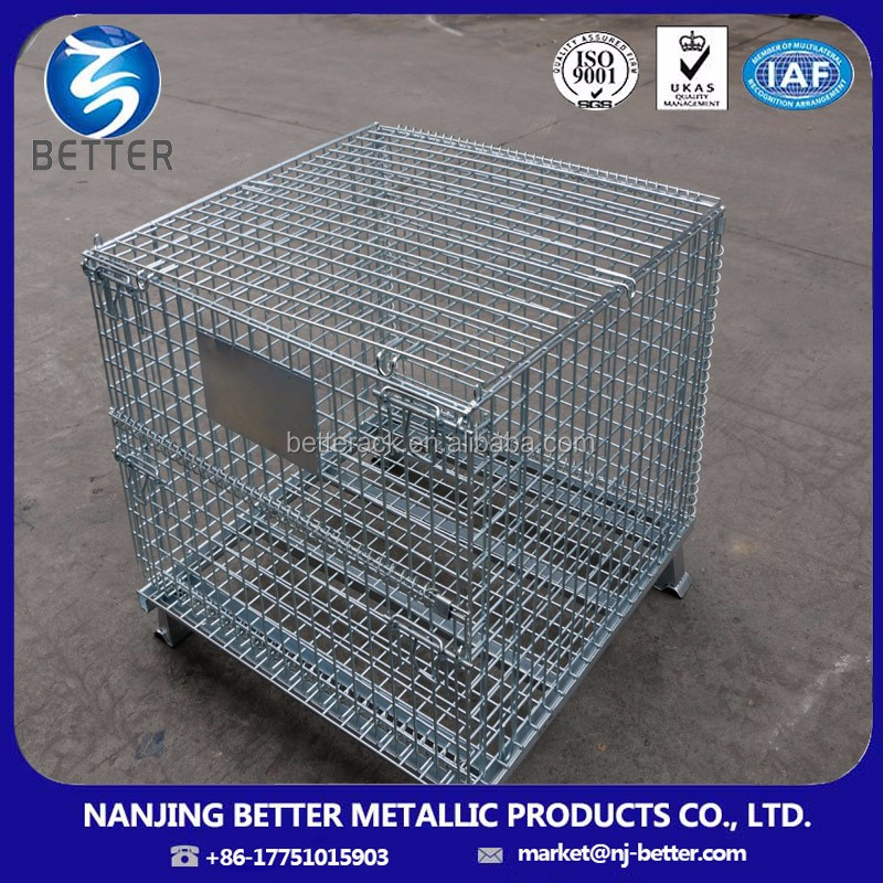 collapsible metal wire mesh box portable storage cage,steel storage cages with wheels,rolling metal storage cage
