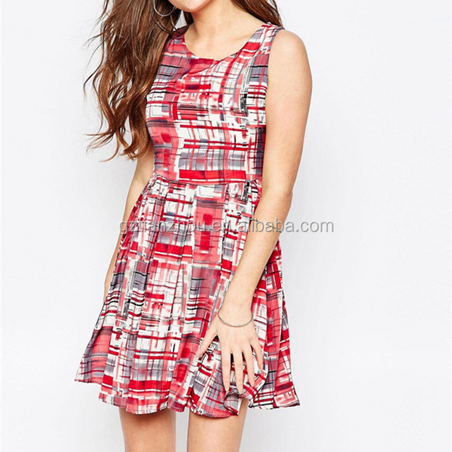 Guangzhou OEM Sleeveless Round Neck Skater Dress Flare Shape Check Print Fashion Dress For Sale