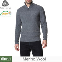 Latest sweater designs for men, 1/4 button pullover Man sweater wool sweater