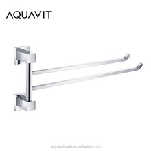 AQUAVIT Elegant Bathroom Accessories Simple Design Fitting Wall Mounted Chrome Plated Solid brass Two arms towel bar swivel