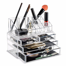 Wholesale Acrylic Crystal Cosmetic Display Box Plastic MakeUp Organizer with Drawers
