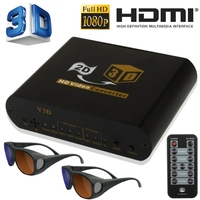 Full HD 2D to 3D Video Converter with 3D Video Glasses and Remote Control