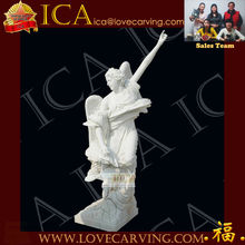 High quality villa decoration life-size white stone angel statue