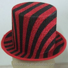 party hat /glitter black and red carnival party top hat/wholesale fashion party top hat