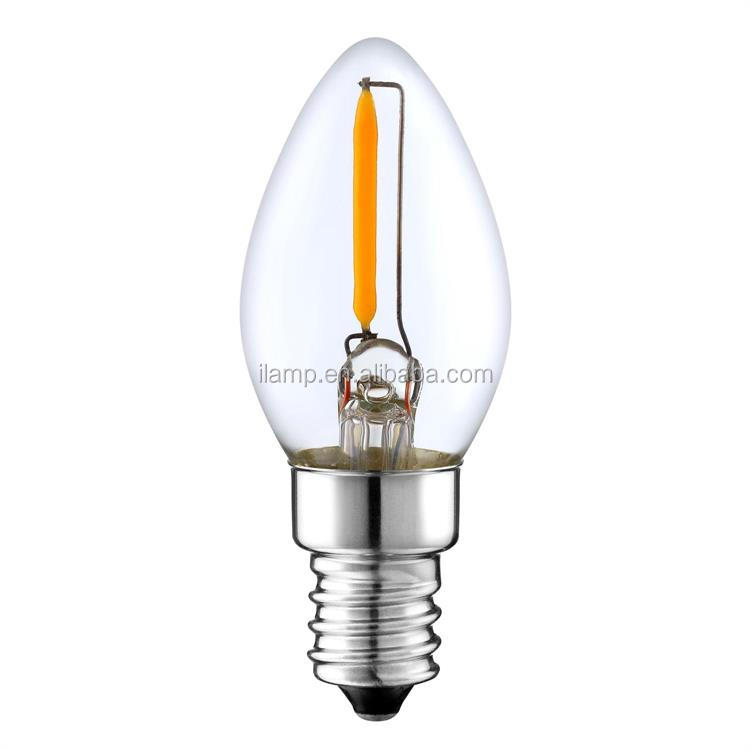 ul ce rohs Certificated C7 christmas Led Filament Bulbs 1w dimmable Candle Bulbs e12 e14 for decoration
