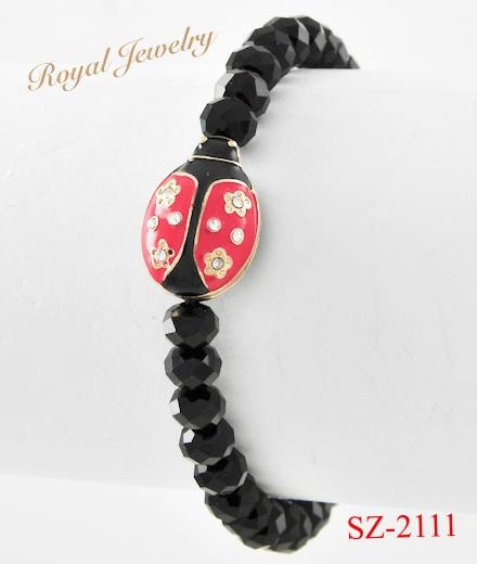 SZ-2111 New Products Glass Beads Ladybird Charm Bracelet For Wholesale
