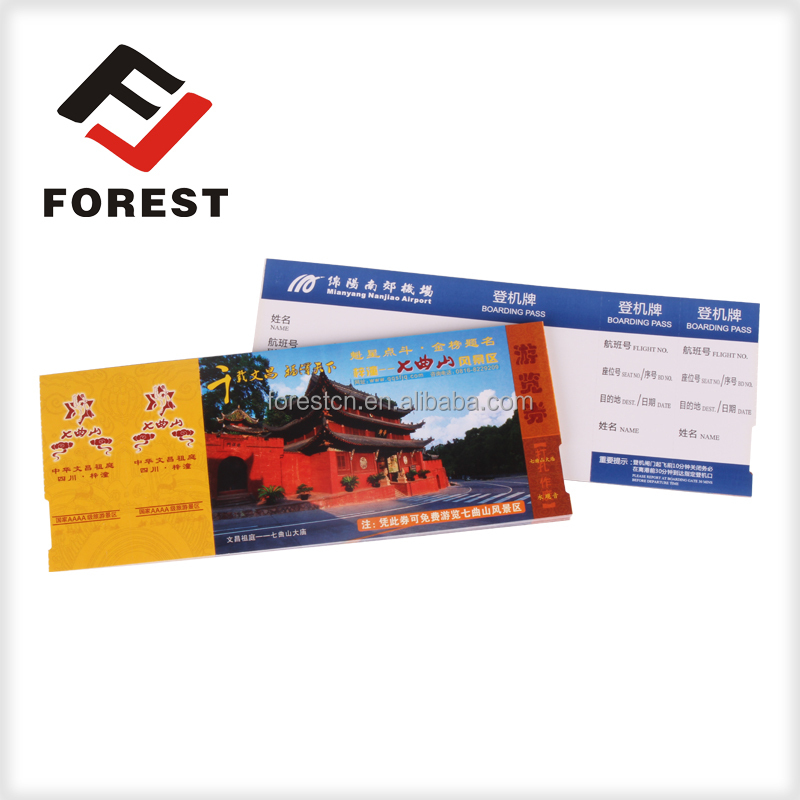 Supplies paper boarding pass and airline ticket