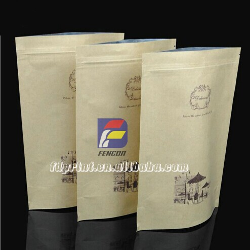 China Ziplock Stand Up Brown Kraft Paper Bag For Food