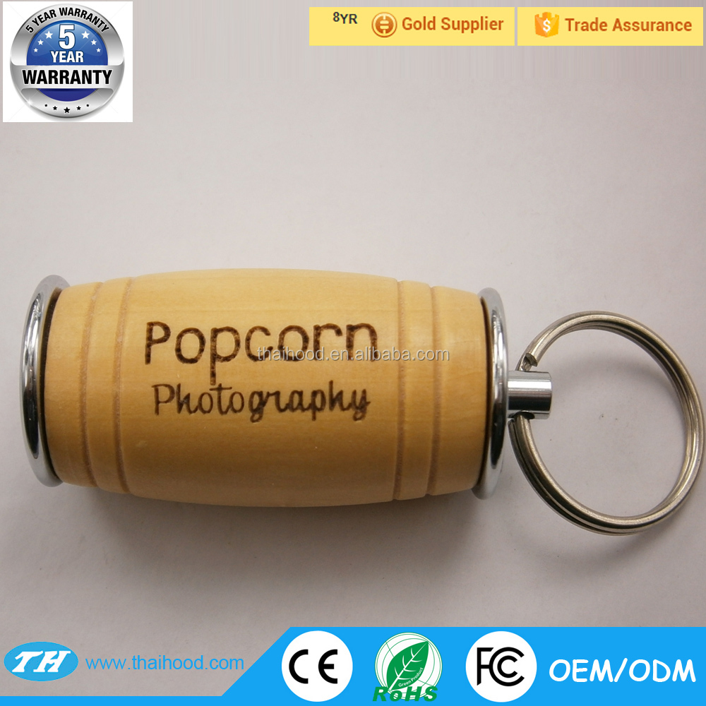 Wooden USB Stick Beel Barrel Shape memory Flash Drive with Customized Logo
