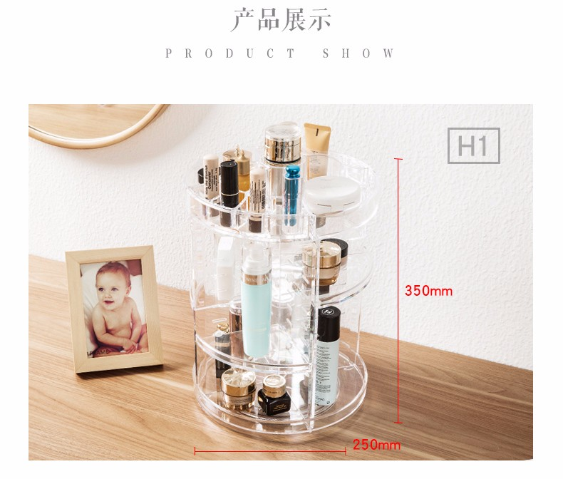 Makeup Organizer 360 Rotating plastic Cosmetics Storage Case Detachable Spinning Makeup Holder Storage