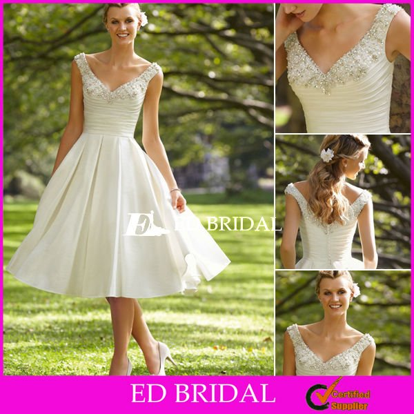 Off the Shoulder Beaded Embroidery Taffeta Tea Length Wedding Dress 2012 Outdoor Bridal Gowns