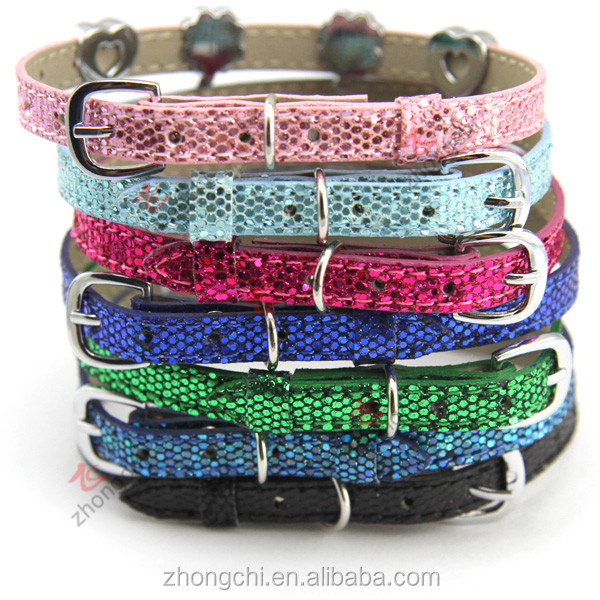 Wholesale glitter leather cats collars,diy personalized cat collars shining design