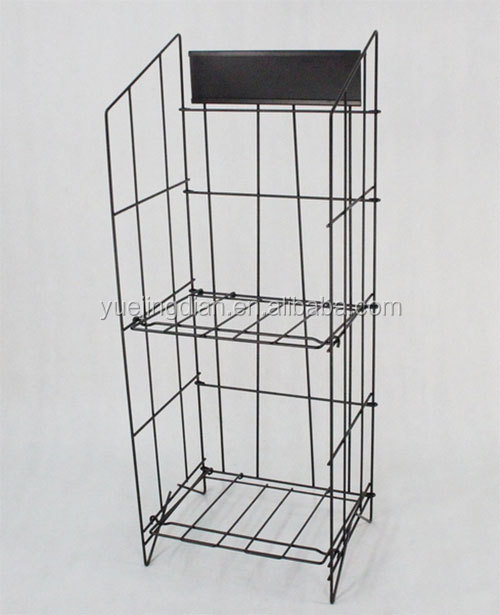 Doule layers metal wire soft drink display rack . beverage storage free standing display shelf for hot sale