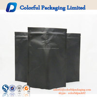 food grade black matt surface coffee bag with valve foil ziplock coffee pouch
