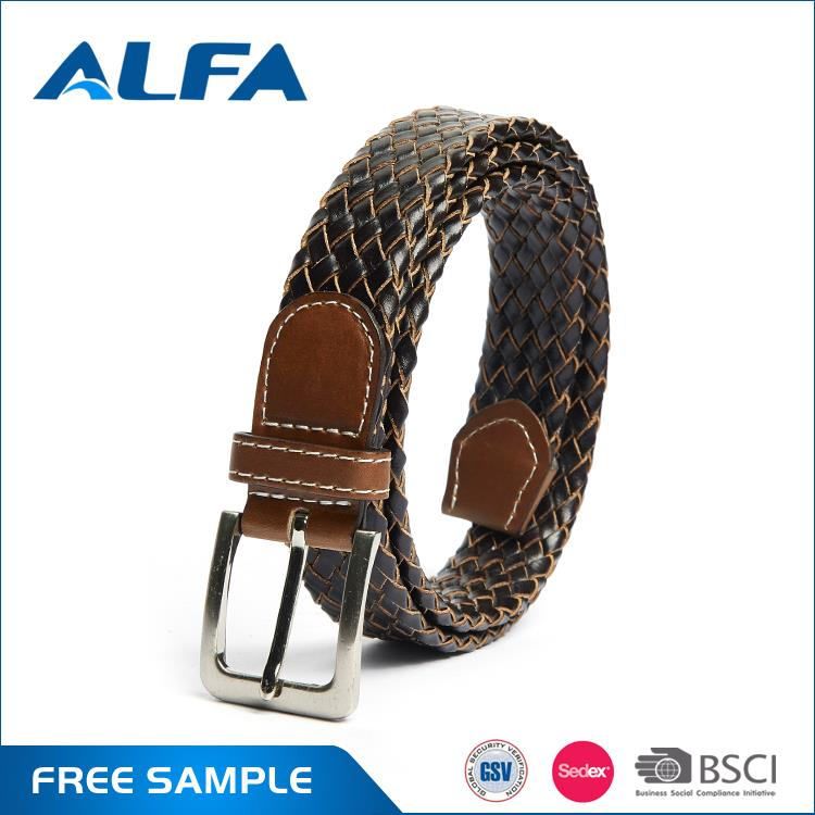 Alfa Hight Quality Products Braided Leather Belt Brown