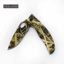 Good Quality Camping Knife Military Camo Coated Survival Knife Flipper Open Outdoor Knife