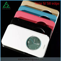 For Galaxy Note 5 Smart Round Window Leather Case Stand Holder Case For Galaxy s6 Edge