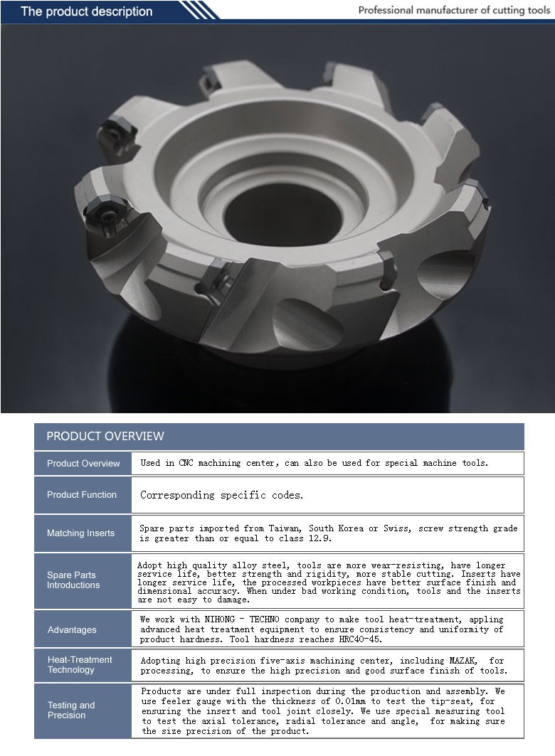 Nickel and Black coating High Precision Carbide Milling Tool CNC Indexable Face Milling Cutter