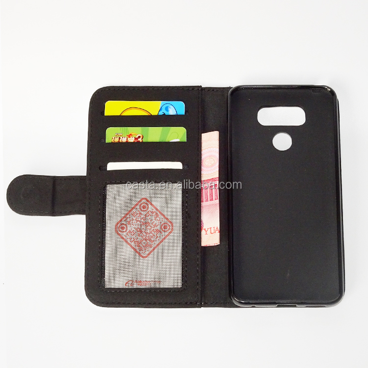 Blank sublimation Litchi Texture Horizontal Flip Leather Case with Credit Card Slot & Holder for LG G6