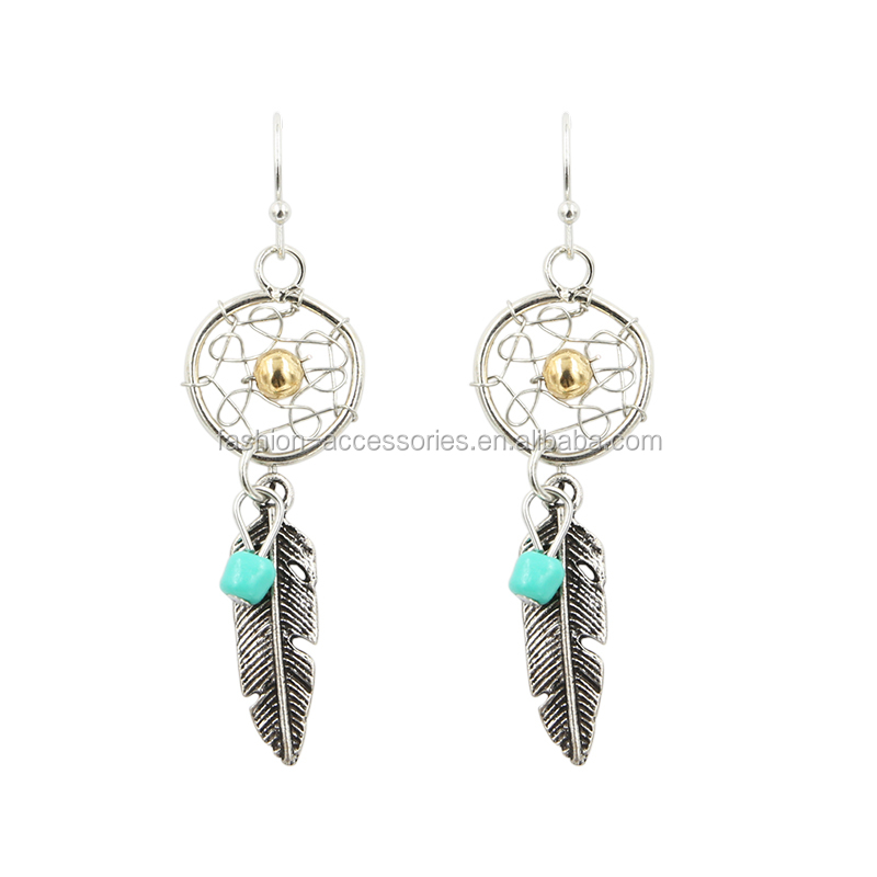 Fashion Women Beaded Earring Latest Artificial Vintage Dream Catcher Gold Balls Silver Drop Earrings Wholesale 2017
