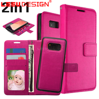 3 card slots with stand 2 in 1 magnetic leather wallet flip stand case for samsun g galaxy S8