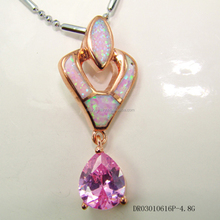 Fine Opal Pendant Pink Zircon Candy Shaped Jewelry