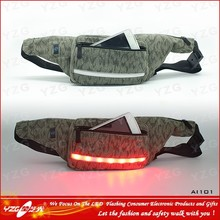 led Camouflage sport elastic mini waist bag for ipad