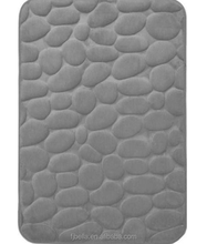 Luxury Memory Foam Plain Color Super Soft Stone Pebble Bathroom Floor Bath Mat -Grey