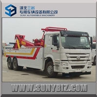 sinotruck Wrecker Tow truck Towing flatbed Truck Emergency Recovery Truck Bed Side tow 2 cars together
