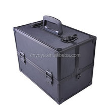 Professional Large Black Aluminum Cosmetic Box Train Makeup Artist Storage Case
