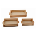 BSCI&FSC custom decorative unfinished set of 3 pine wooden tray with handle