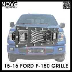 Car Front Grille 15 16 Stainless Steel Wire Mesh Grille For Ford F-150 For Led Light Bar
